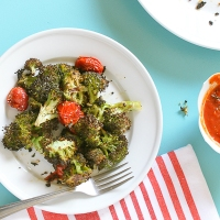 Roasted Broccoli with Blistered Grape Tomatoes